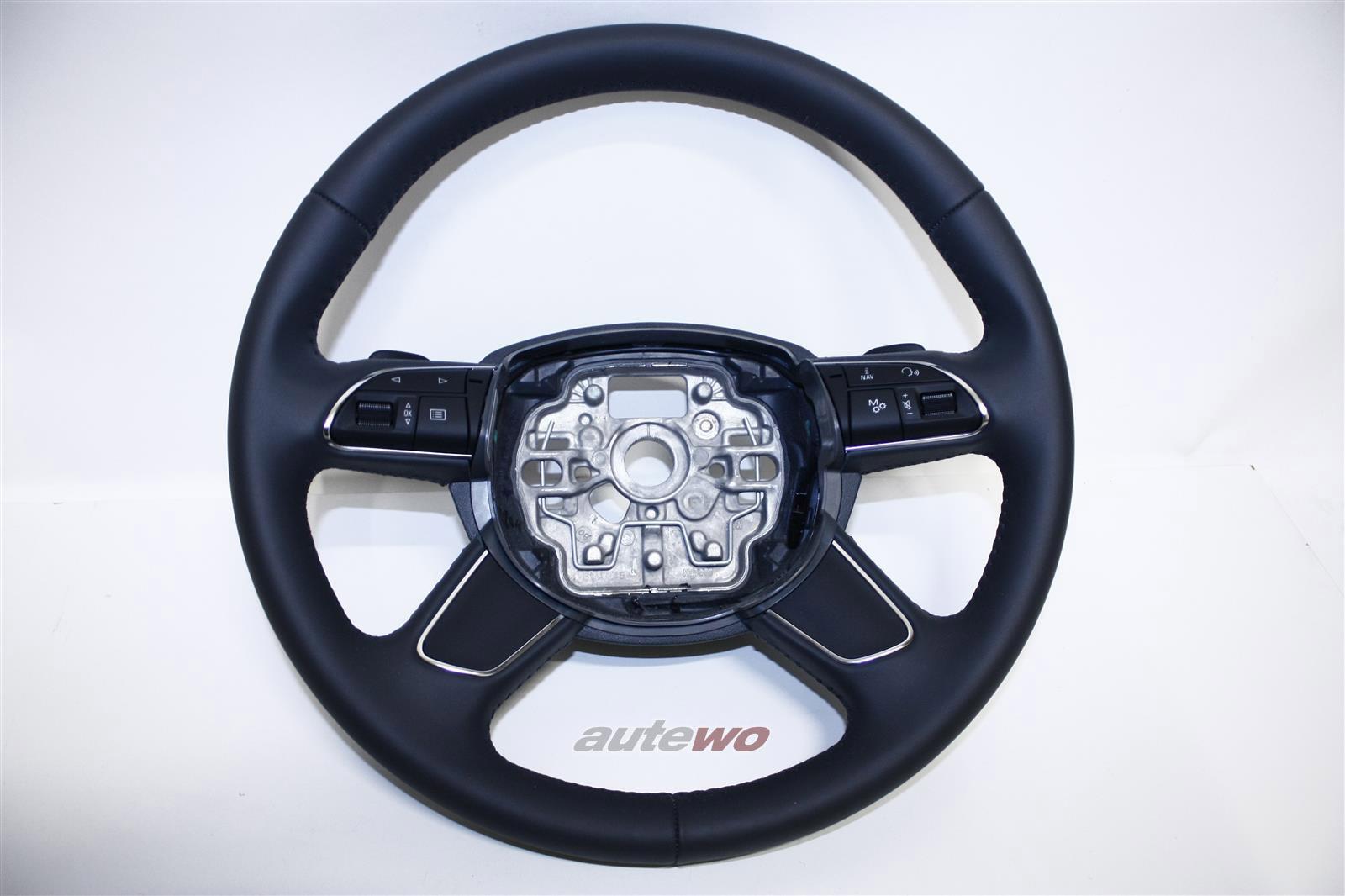 4H0419091A NEU Audi A8 D4 Leder-Lenkrad DF9 granit grau
