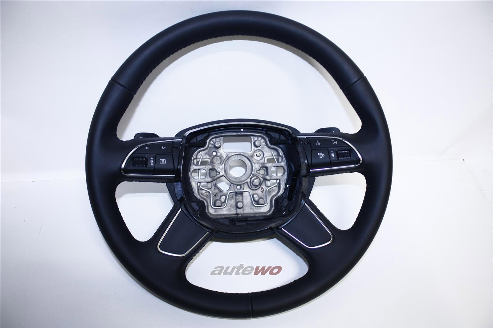 4H0419091AB NEU Audi A8 D4 Leder-Lenkrad 1KT soul schwarz