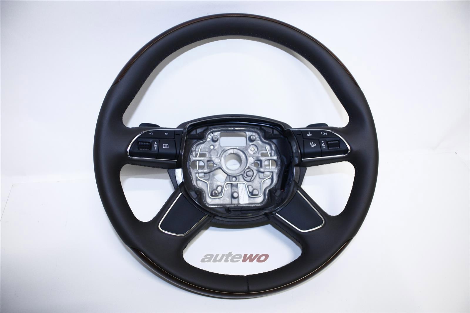4H0419091N NEU Audi A8 D4 Leder-Lenkrad Nussbaum-Wurzelholz DEM moorbraun