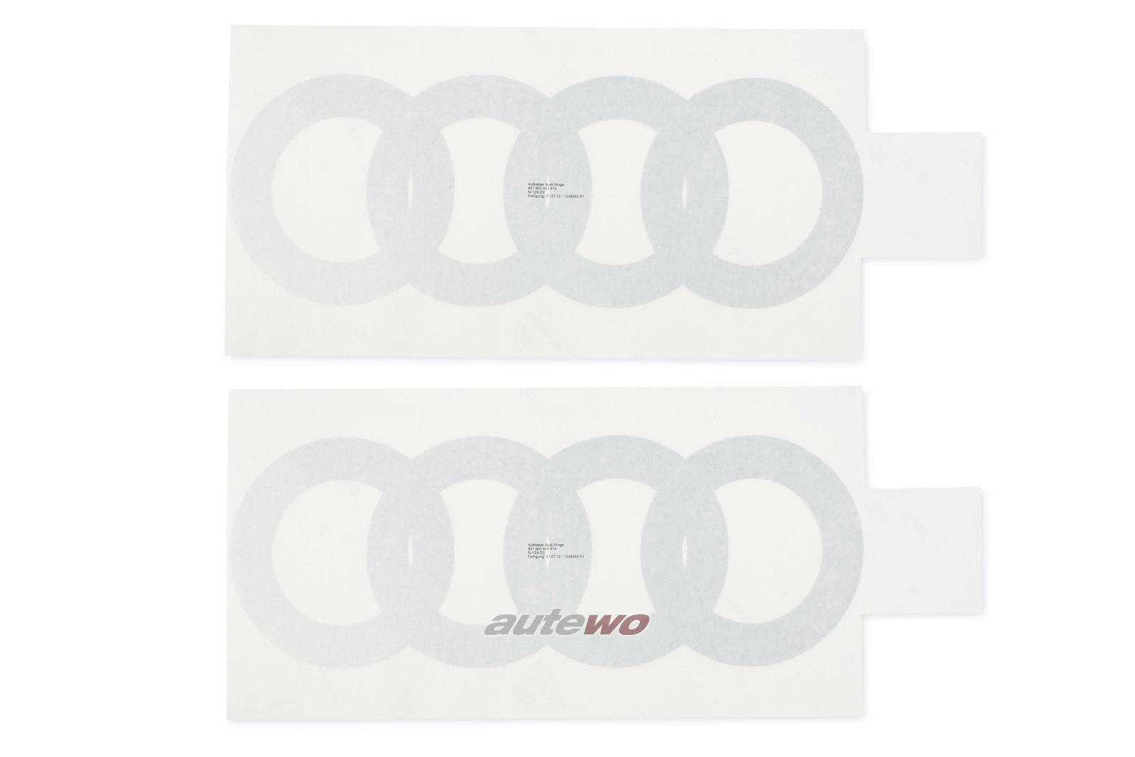 857853443 NEU Audi Urquattro Paar Audiringe für unteren Tür-Bereich silber