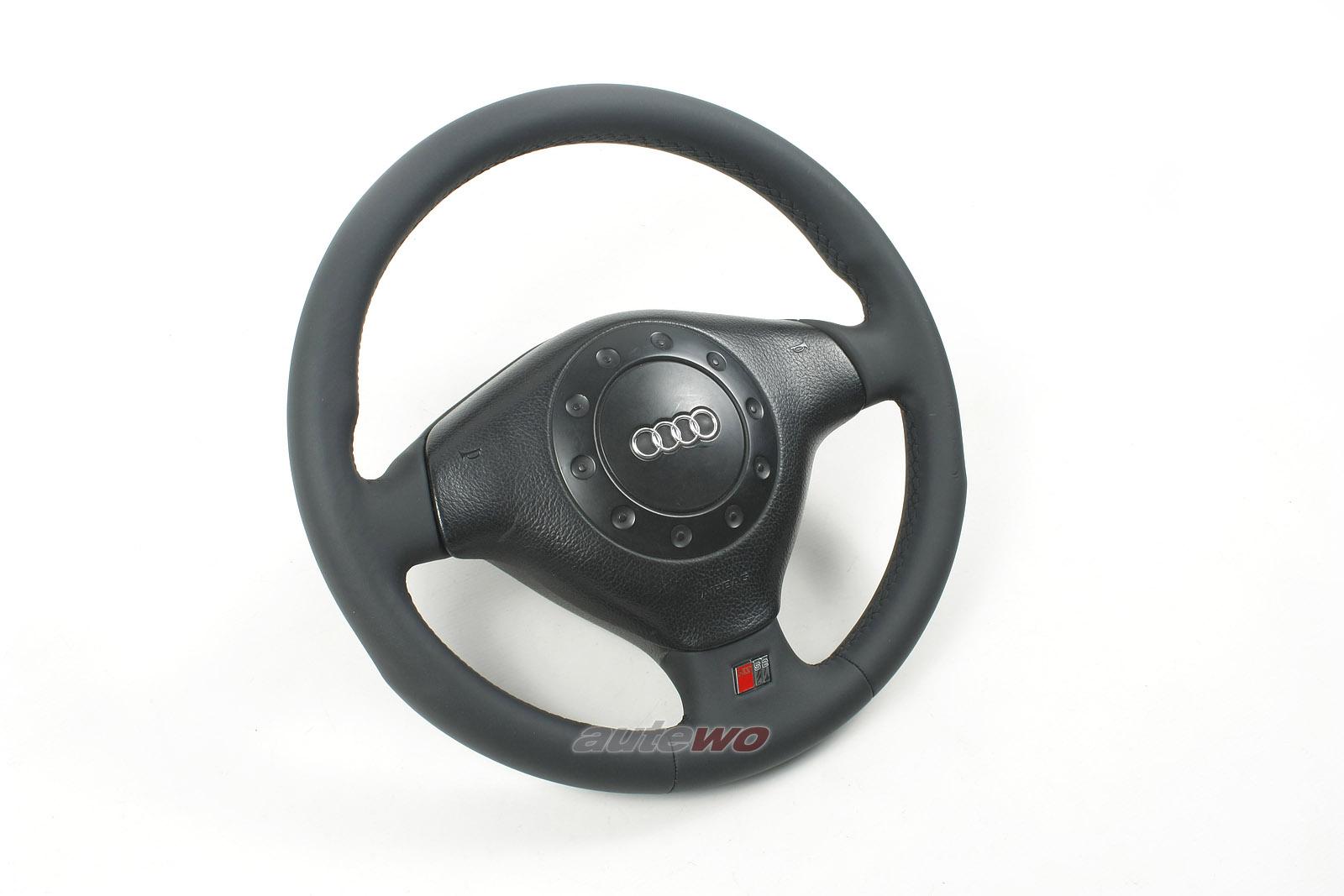 #4A0419091BA NEUBEZUG Audi 80 B4/S2 Coupe 89/Cabrio 3-Speichen-Leder-Lenkrad