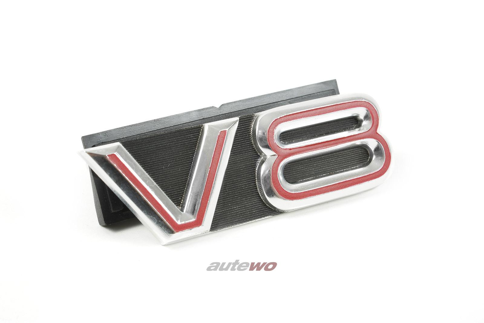 441853736A NEU Audi V8 D11 V8 Kühlergrill Emblem mit Befestigungsmaterial rot