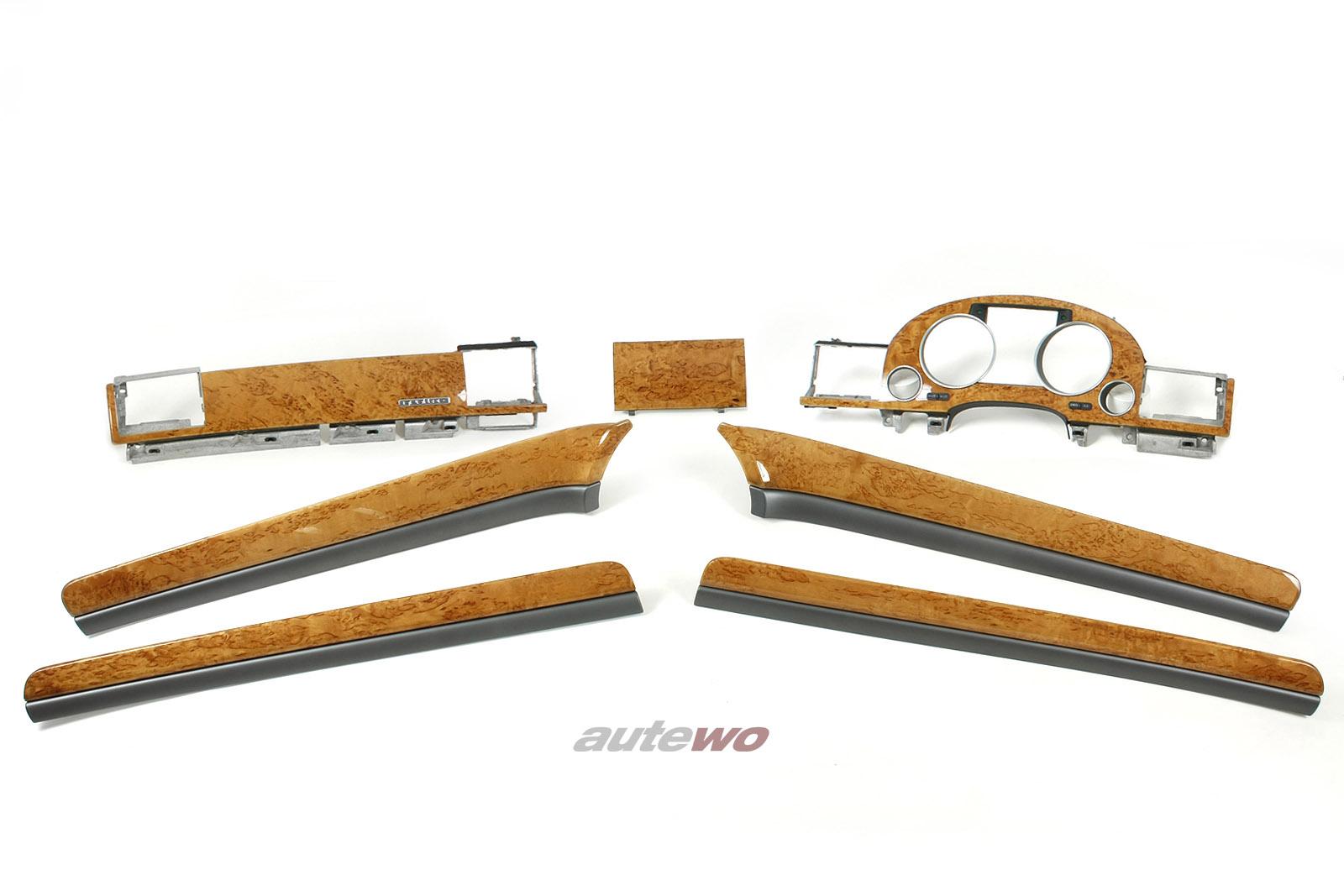 NEU Audi A8 D3 7-teiliger Holz-Zierleisten-Satz 7L5 beige-birkemaser RHD