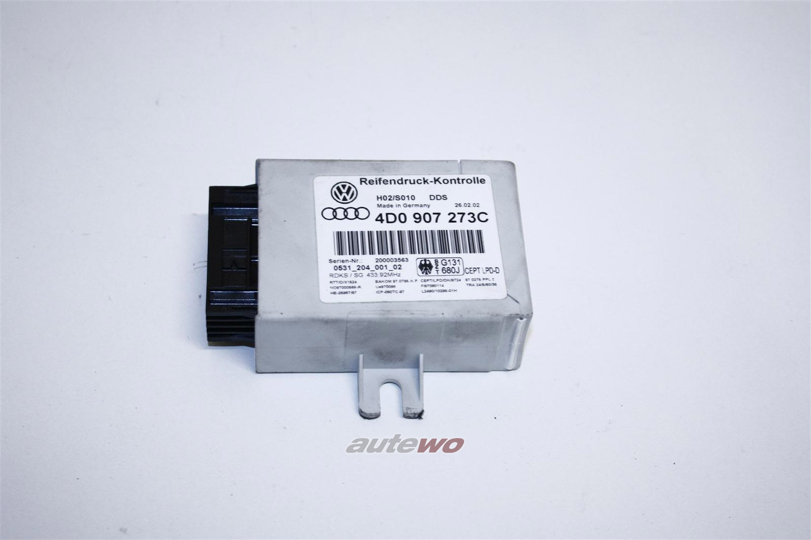 Audi A8 D2 Steuergerät Reifendruckkontrolle 4D0907273C