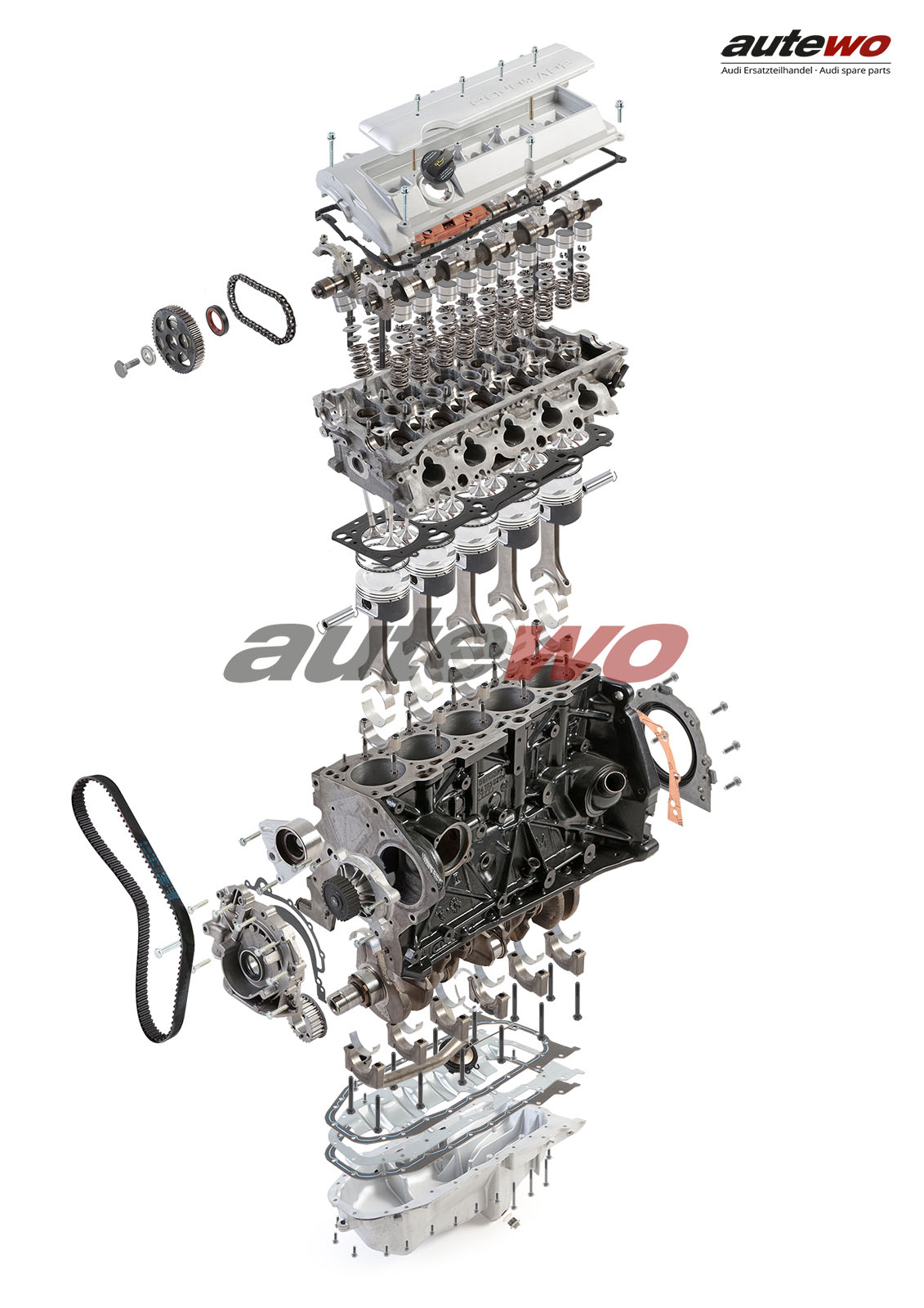 autewo-Poster DIN A2 Schnittzeichnung Audi 5 Zylinder 20V Turbo Motor ADU 2.2l 3
