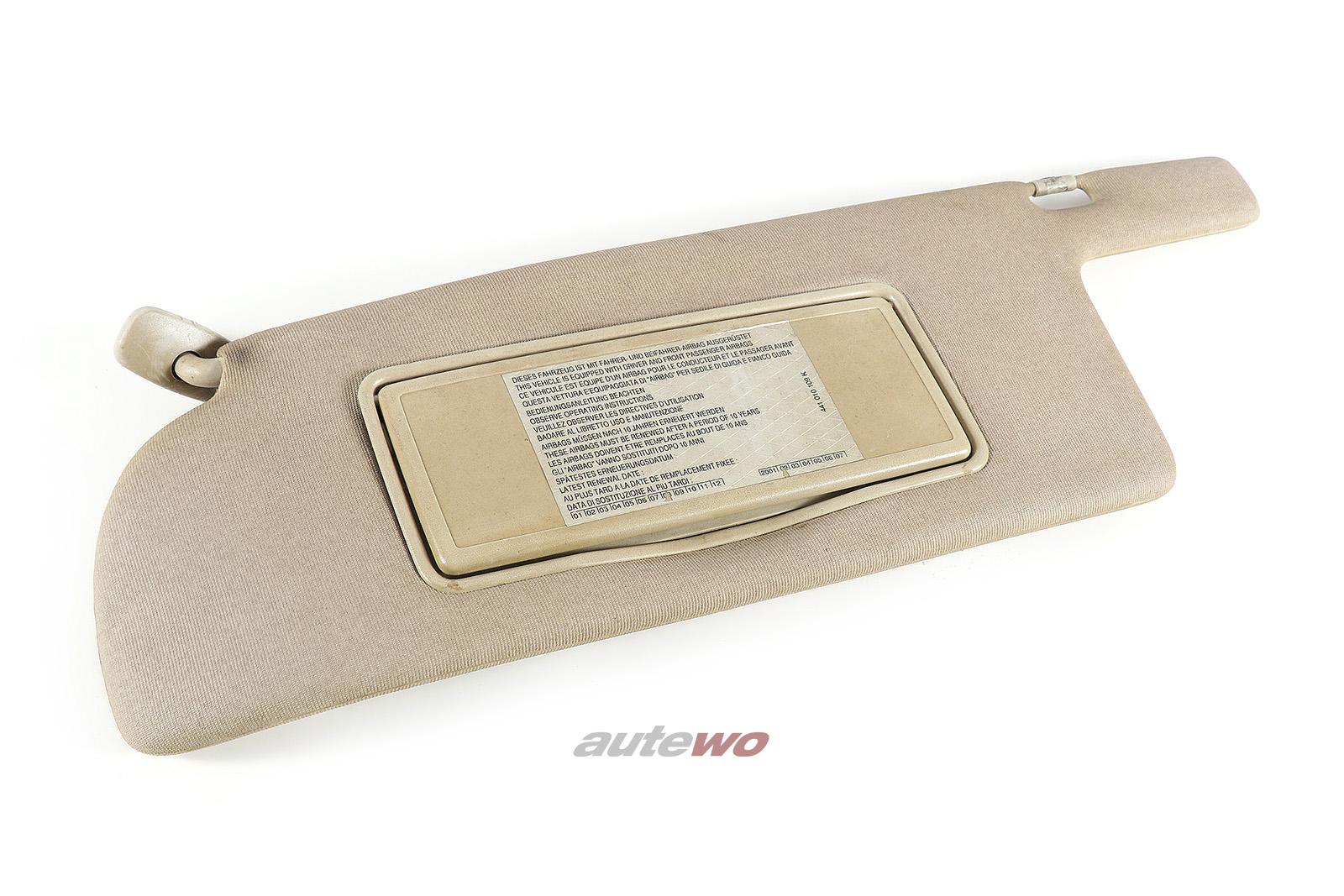 443857551C Audi 100/200 Typ 44 Sonnenblende + beleuchteter Spiegel links