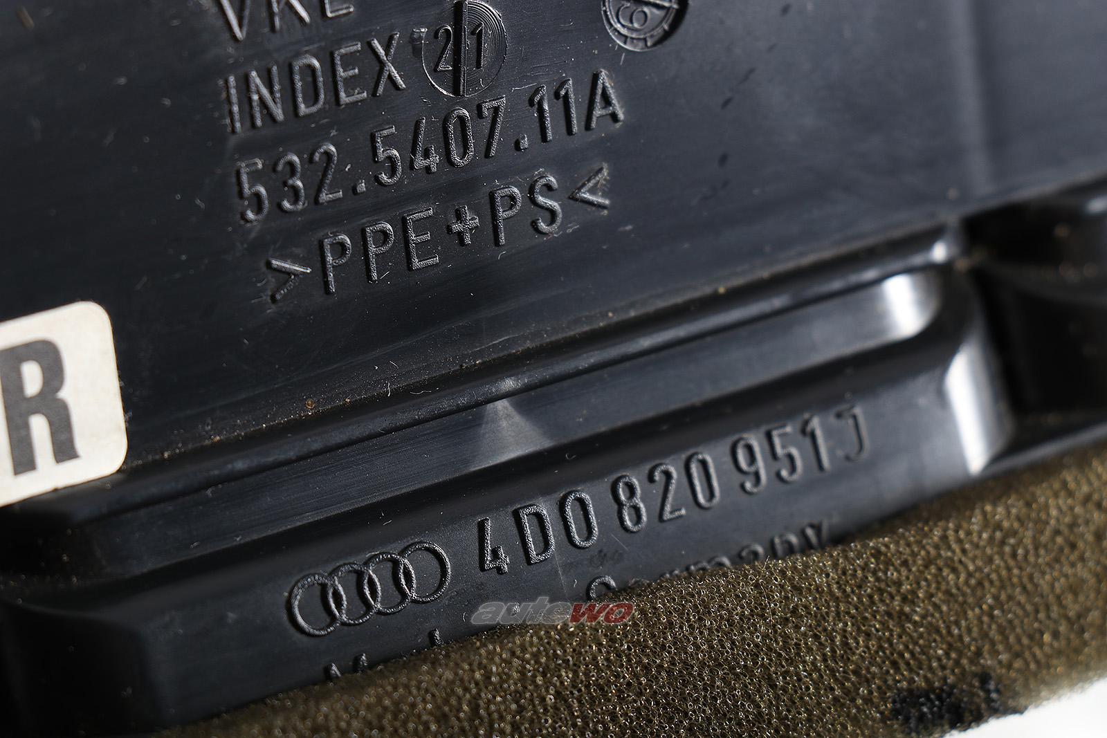 4D0820951J Audi A8/S8 D2 Luftdüse Armaturenbrett Mitte