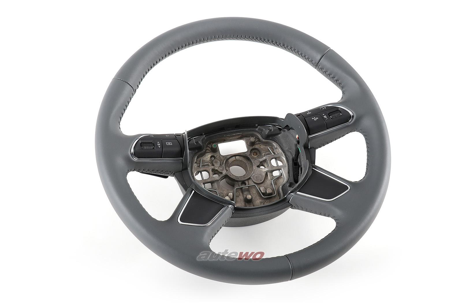 4H0419091A NEU Audi A8 D4 Leder-Lenkrad DB6 stahlgrau