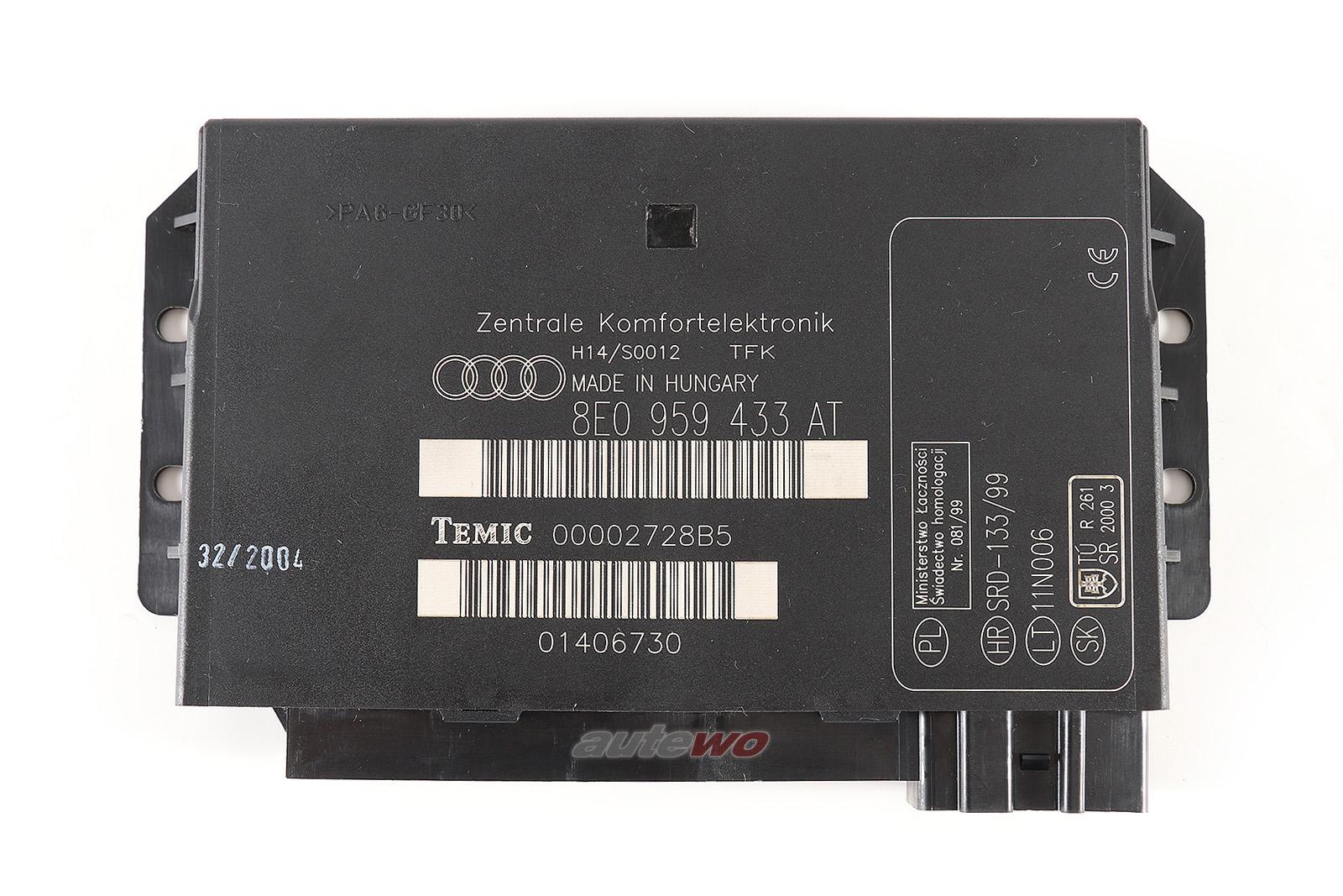 8E0959433AT Audi A4/S4 8E/B6 Zentralsteuergerät Komfortsystem