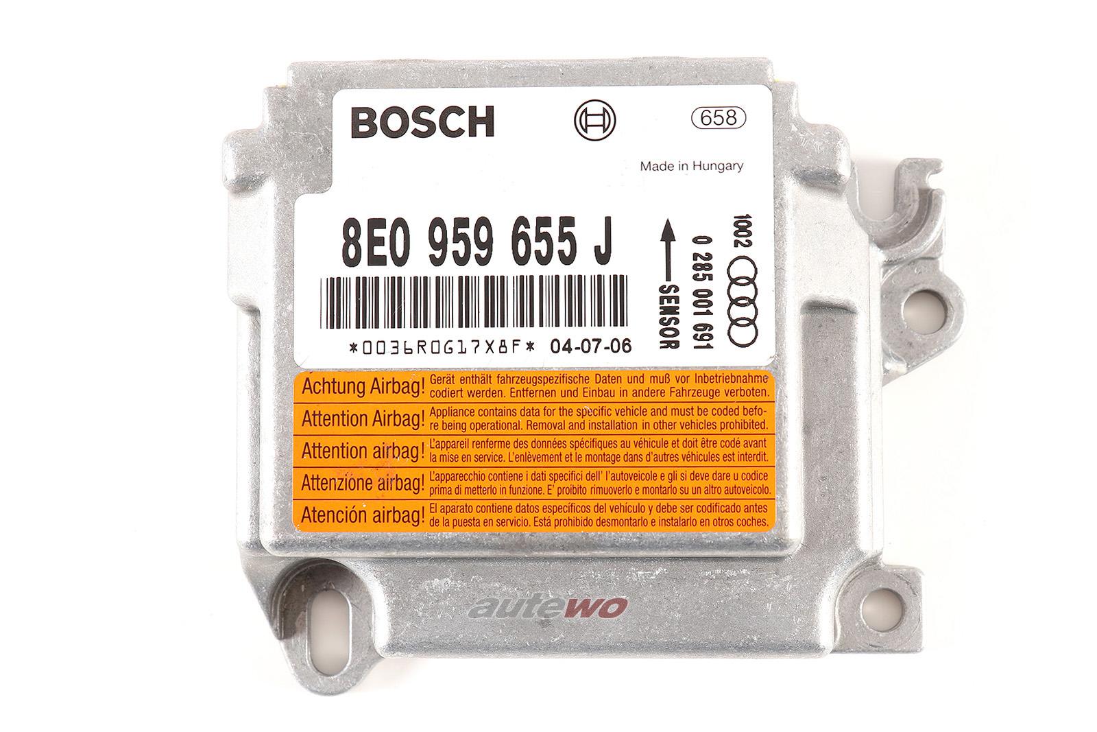 8E0959655J Bosch 0 285 001 691 Audi A4/S4 8E/B6 Airbag Steuergerät