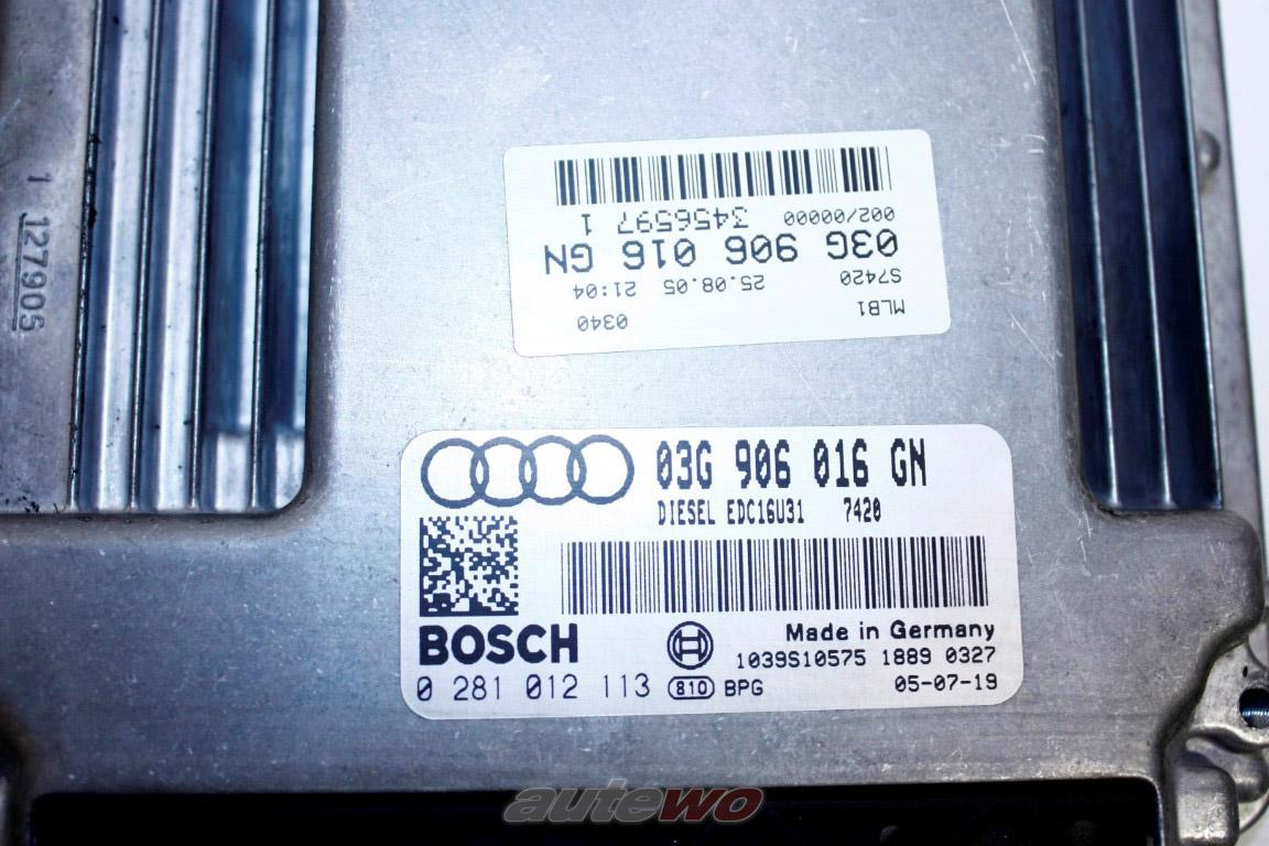 03G997017AX 03G906016GN Audi A4 8E 2.0l 4 Zylinder BLB Motorsteuergerät