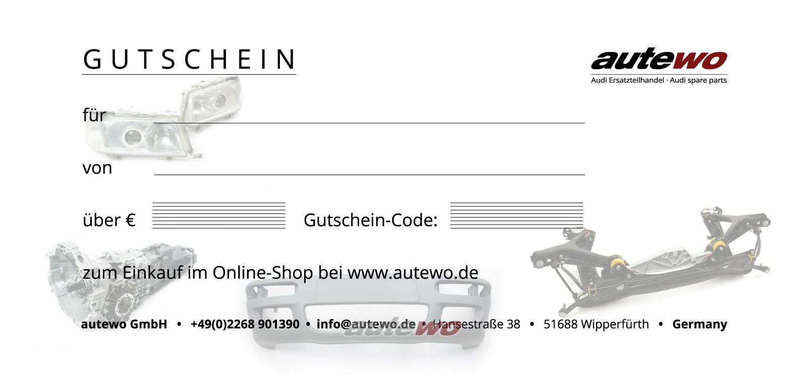 autewo-Geschenkgutschein über 100 Euro Motiv RS2 per Emailversand zum Ausdruck