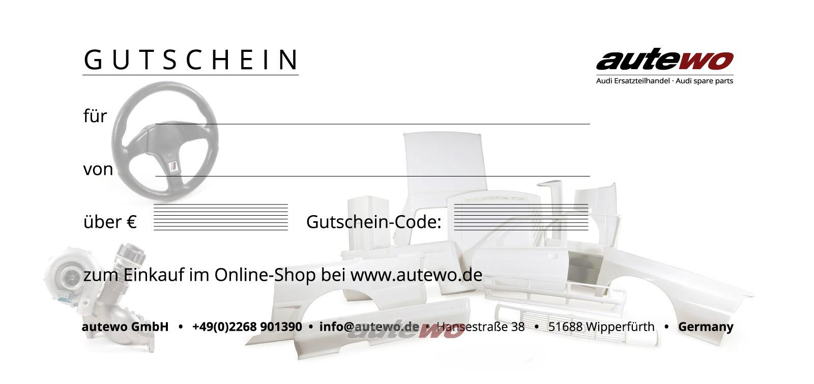 autewo-Geschenkgutschein 100 Euro Motiv Sportquattro -Emailversand zum Ausdruck-